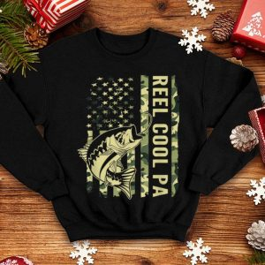 Reel Cool Pa Camouflage American Flag Father Day shirt