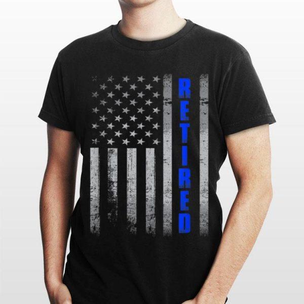 Retired Police Officer Thin Blue Line USA Flag Retirement shirt