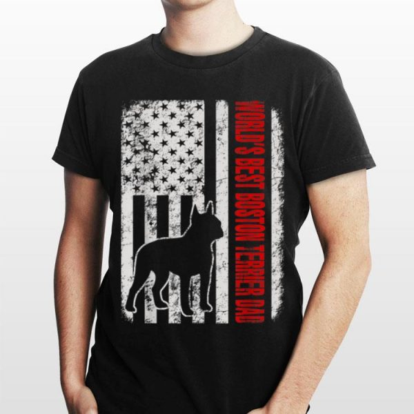 World Best Boston Terrier Dad American Flag shirt