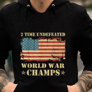 2 Time Undefeated World War Champs Ameican Flag guy tee