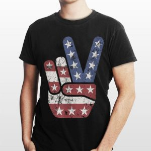 4Th Of July Peace Sign American Flag Hand Us Vintage shirt