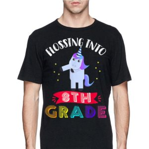 Flossing Into 8th Grade Cute unicorn Back To School shirt