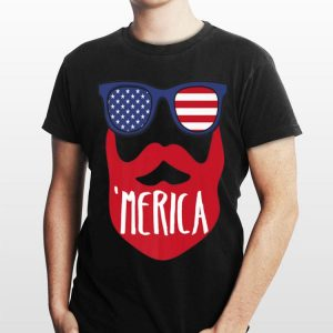 Merica Usa Flag Sunglasses Beard American 4Th Of July shirt