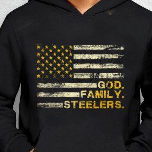 Nice God Family Steelers Pro American Flag guy tee