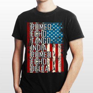 Retired Military Vet Phonetic Alphabet Us Flag shirt