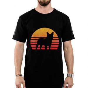 Vintage Retro Sunset French Bulldog Silhouette shirt 3