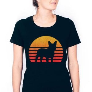 Vintage Retro Sunset French Bulldog Silhouette shirt 2