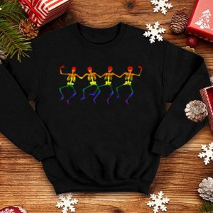 Awesome Gay Pride Lgbt Dancing Skeleton Halloween Spooky shirt
