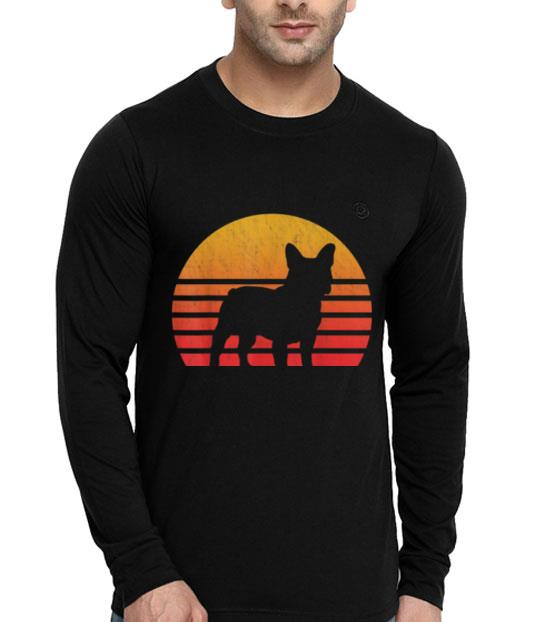 Vintage Retro Sunset French Bulldog Silhouette shirt