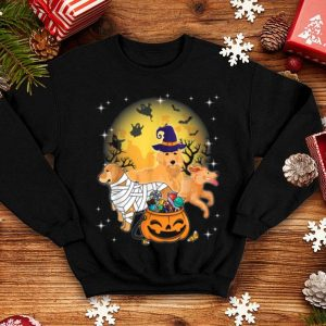 Awesome Golden Retriever Mummy Witch Dog Moon Ghosts Halloween shirt