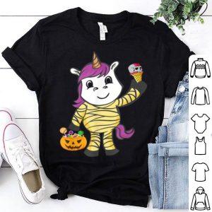 Funny Unicorn Mummy Pumpkin Halloween Costume Boys Girls Kids Gift shirt