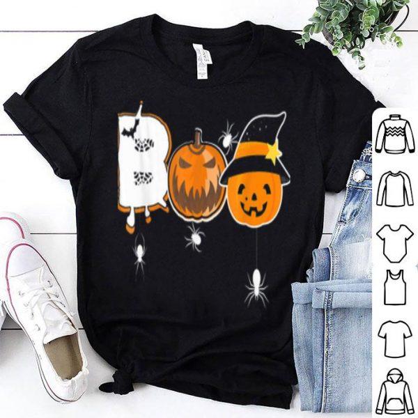 Hot Boo Gift For Halloween With Pumpkin Spider Bats shirt