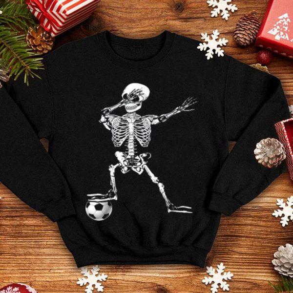 Hot Dabbing Skeleton Soccer Halloween Costume Funny For Boy Kids shirt