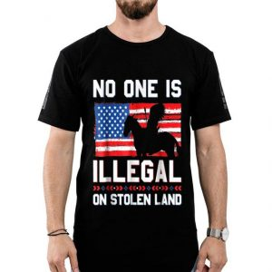 No One Is Illegal On Stolen Land Native Americans American Flag shirt