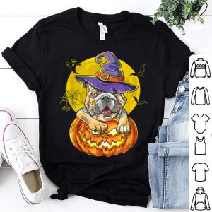 Official Bulldog Halloween Hat Witch Funny shirt