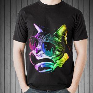 Top Rainbow Music Dj Cat guy tee