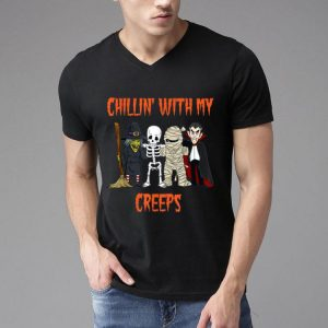 Chillin With My Creeps Halloween Vampire Skeleton Witch shirt