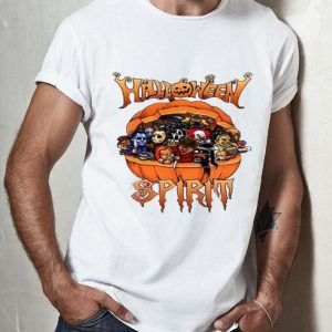 Halloween Spirit Horror Movie Characters In Pumpkin shirt