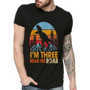 I'm Three Hear Me Roar Vintage Dinosaur shirt