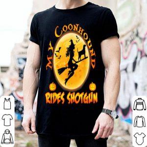 Official My Coonhound Dog Rides Shotgun Halloween Costumes Dogs shirt
