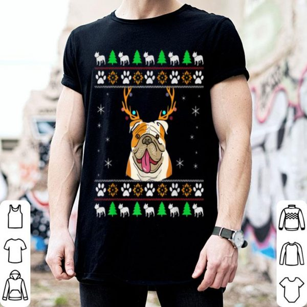 Awesome Bulldog With Antlers In An UGLY Christmas shirt