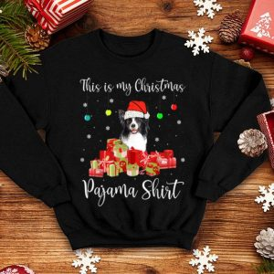 Awesome This is My Christmas Pajama Santa Border Collie Dog shirt