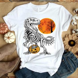Hot Halloween Dinosaur Skeleton Pumpkin Creepy Gifts shirt