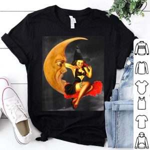 Nice Vintage Pin Up Girl Witch on Moon Halloween shirt