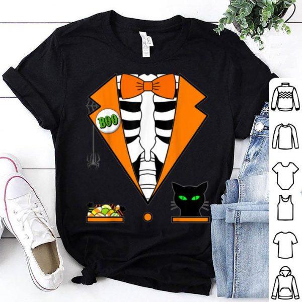 Official Easy Halloween Costume Orange Skeleton Tuxedo shirt