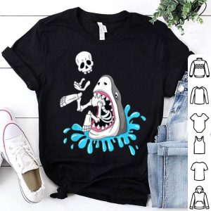 Official Shark Eats Skeleton Funny Halloween Boys Girls Kids shirt