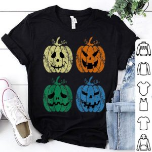 Premium Vintage Retro Scary Pumpkin Face Halloween Costume Gift shirt