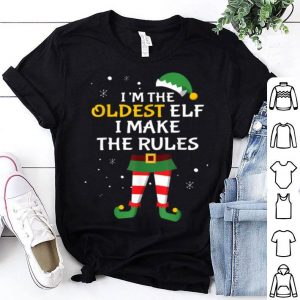 Top Oldest Elf Funny Gift Rules Sibling Matching Christmas shirt
