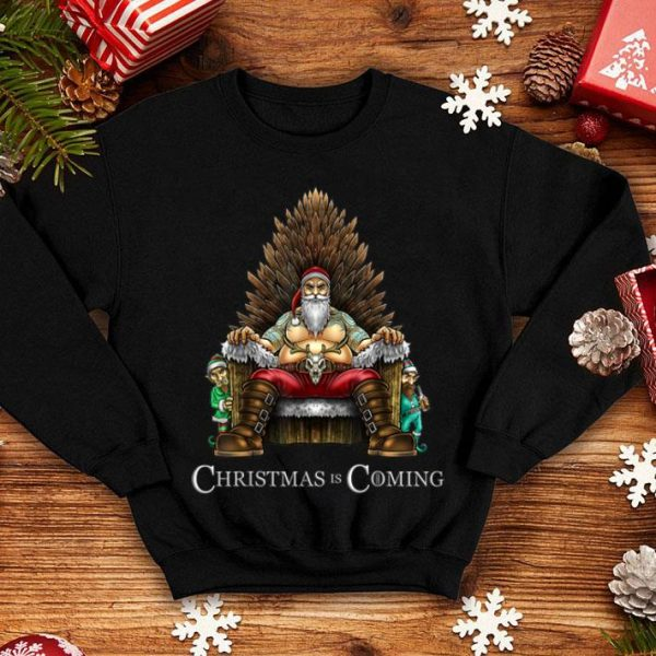Beautiful Christmas Is Coming Santa Sitting on Throne Funny Christmas shirt