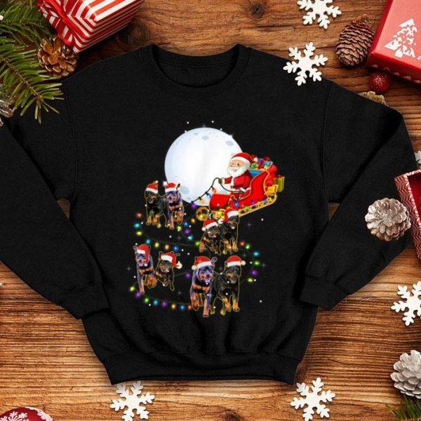 Beautiful Funny Rottweiler Christmas Reindeer Christmas Lights Pajama shirt
