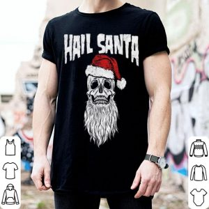 Beautiful Hail Santa! Vintage Skull & Santa Hat Retro Funny Graphic shirt