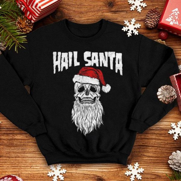 Beautiful Hail Santa! Vintage Skull & Santa Hat Retro Funny Graphic shirt