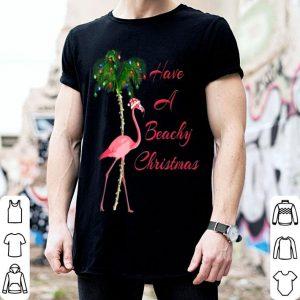 Beautiful Have A Beachy Christmas Flamingo shirt