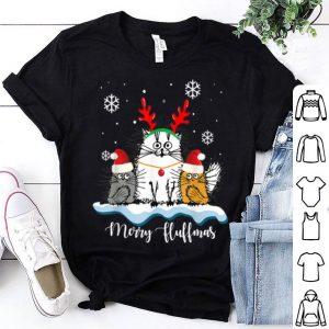 Beautiful Merry Fluffmas Cats With Santa Hat Reindeer Horn Christmas shirt