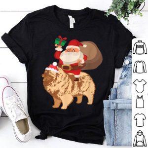 Beautiful Santa Riding Keeshond Christmas Pajama Gift shirt