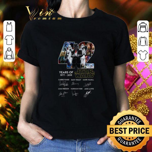Cheap Darth Vader 42 Years of Star Wars 1977-2019 signatures shirt