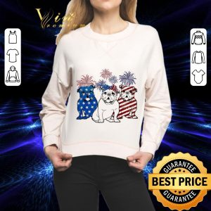 Funny Fireworks Bulldog 4th of July independence day American flag shirt