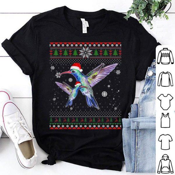 Hot Christmas Hummingbird Farm Santa Hat In Snow Ugly Sweater shirt
