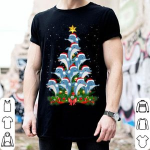Hot Funny Dolphin Santa Hat Christmas Tree shirt