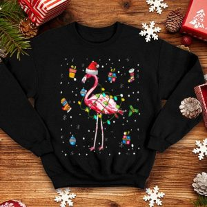 Official Flamingo Lights with Santa Hat Christmas Pajamas Funny Gifts sweater