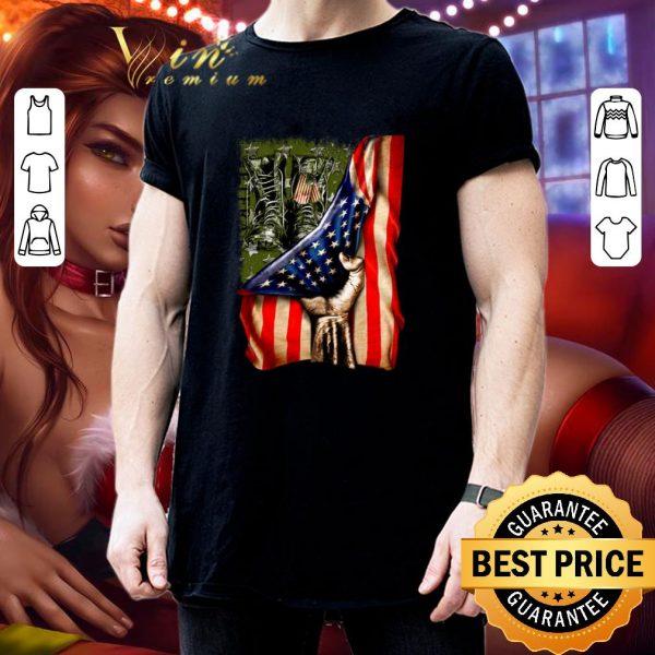 Premium Veteran your name American flag shirt