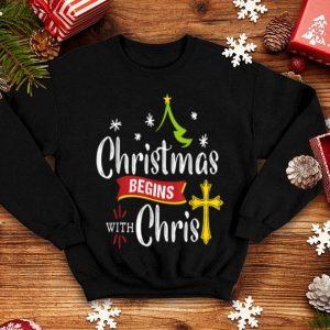 Top Christmas Begins With Christ Jesus Christian shirt