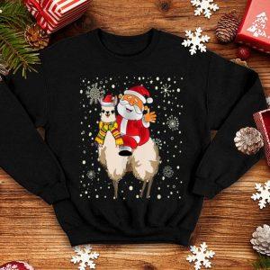 Top Funny Christmas Santa Claus Riding Llama Santa Pajama Gift shirt