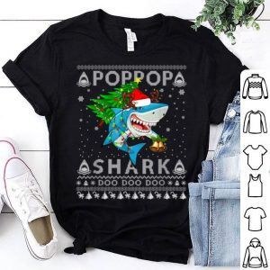 Top Poppop Shark Santa Christmas Family Matching Pajamas shirt