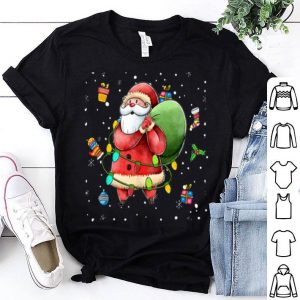 Top Santa Claus Lights with Santa Hat Christmas Pajamas Funny shirt