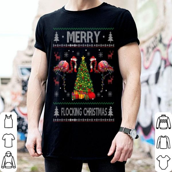 Awesome Merry Flocking Christmas Flamingo Pink In Santa Hat Ugly sweater